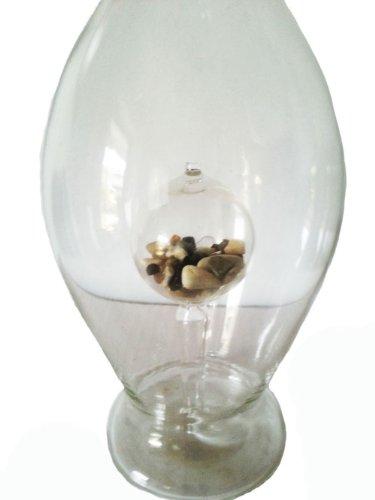 Bouteille arrondiede verre cristal, bouteille, decanter de verre clair, souffle a la bouche, avec gams, avec du sodalite à l'intérieur, pour les eaux de guérison, essences préparation, hauteur capacité : 0,5 l : env. 30 cm, Oberstdorfer Glashütte