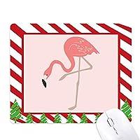 フラミンゴ・パターンに立って ゴムクリスマスキャンディマウスパッド