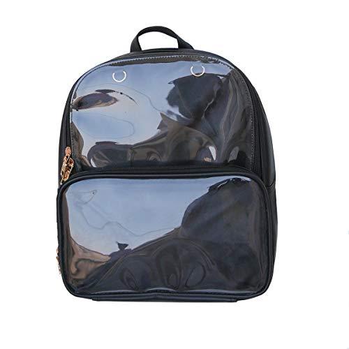 KEEPOP Ita Taschen Rucksack Mädchen Schulrucksack Niedliche Sommer Strandtasche Transparente Fenster für DIY Dekore, Schwarz