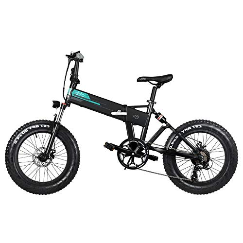 FIIDO M1 Bicicleta de montaña eléctrica plegable 250W Motor Shimano Desviador de 7 velocidades Batería de litio de 12.5Ah Pantalla LCD de 3 modos y ruedas de 20 'Neumáticos gordos de 4 pulgadas, negro