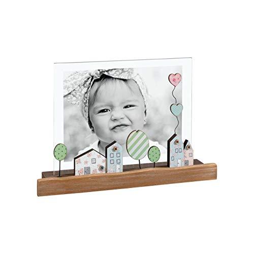 Mascagni Portafoto con base in legno Bambina Bambino Palloncini Citta Colorato 13x18