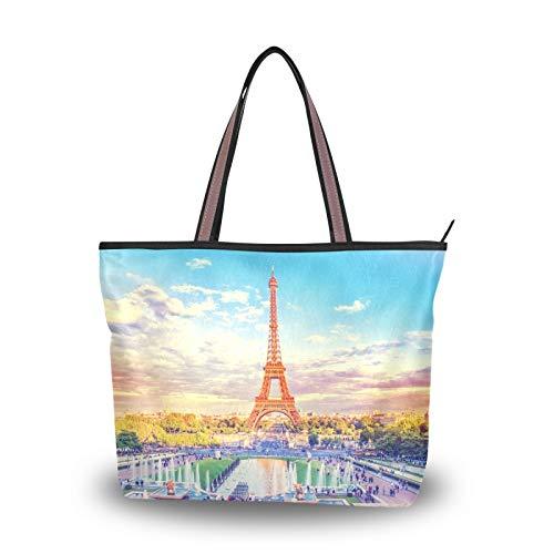 NaiiaN für Frauen Mädchen Damen Student Leicht Strap Strap Tote Bag Geldbörse Shopping Handtaschen Eiffelturm Brunnen Paris Frankreich Retro Vintage Umhängetaschen