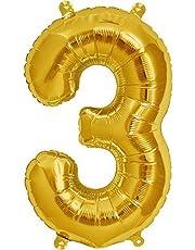 بالونات قصدير بشكل الارقام بلون ذهبي لتزيين حفلات اعياد الميلاد والزفاف، الرقم 3، 35 انش