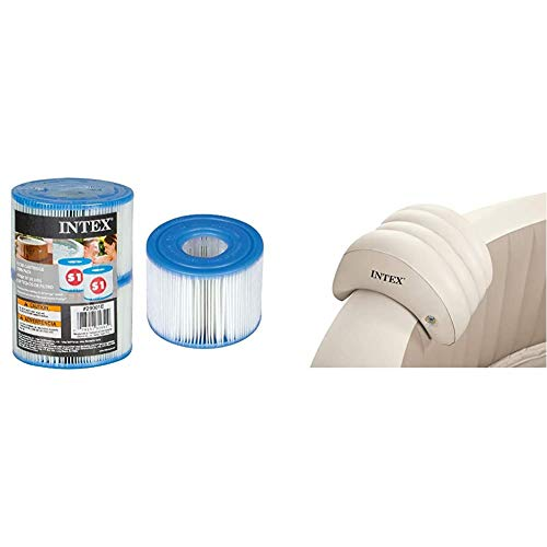 Intex 55000 - Pack de 2 cartuchos SPA tipo S1, altura de 7.5 cm y diámetros de 10.8/4 cm + 28501 - Almohada hinchable para Spa, color Beige, 39 x 30 x 23 cm