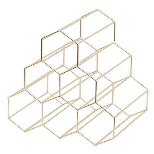 Weinständer - Nordischer Stil Metall gebürstetes Gold & geometrisches Design Flaschenregal Weinständer