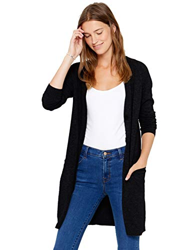 State Cashmere Women's Button Front Cardigan 100% Pure Cashmere V Neck Fashion Sweater Dress with Pockets (Medium, Black)