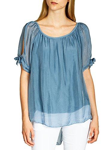 Caspar BLU020 Lange leichte Elegante Damen Sommer Bluse mit Seidenanteil, Größe:S/M, Farbe:Jeans blau