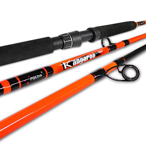 """Fiblink 1-Piece Trolling Rod Saltwater Offshore Spinning & Casting Roller Rod Conventional Boat Fishing Pole (5'6""""-MH - 30-50LB(Orange))"""