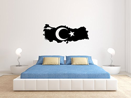 Comedy Wall Art Türkei - Flagge Land - Schwarz - ca. 140 x 60 cm
