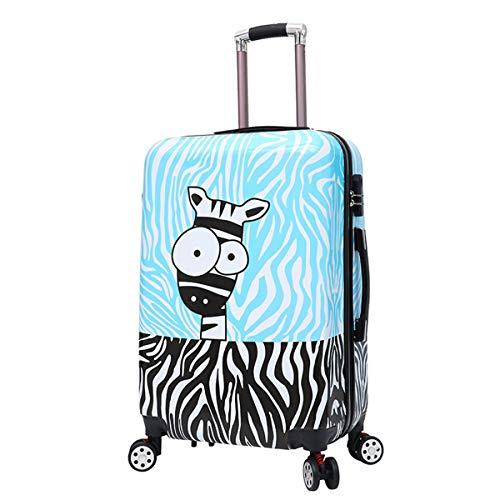 Kleine Trolley koffer PC Materiaal Rits koffer, Cartoon Gevlekt Paard Drawn Rod Box Universele Wiel koffer 20/24 Inch koffer