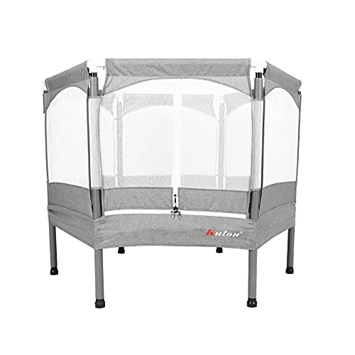 KUTON Trampoline, Kids Trampoline with Safety Enclosure Net, 50 inches Trampoline for Kids, Heavy Duty Frame with Stable & Reinforce Poles, Triple Zipper, Durable Indoor Trampoline for Kiddo, Gray