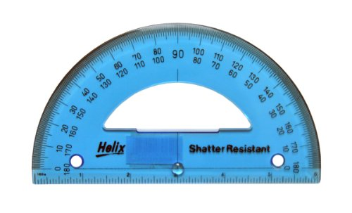 Helix Shatter-Resistant 180 Degree Protractor, 6 Inch / 15cm, Assorted Colors (12072)