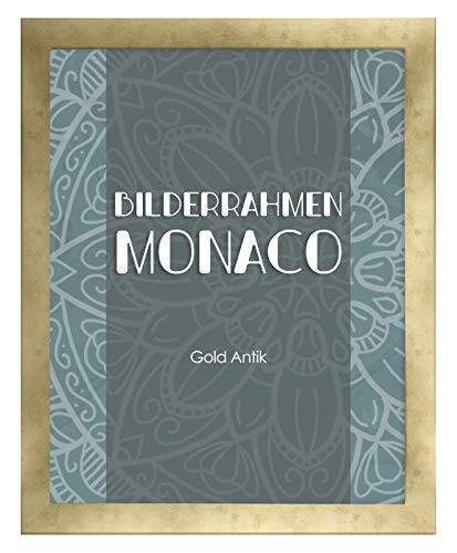Homedeco-24 Monaco MDF Bilderrahmen ohne Rundungen 60 x 80 cm Größe wählbar 80 x 60 cm Gold Antik mit Acrylglas klar 1 mm