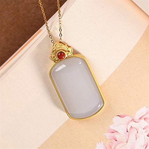 XTMM Big Size Blank Gemstones Necklaces for Women Square Hetian Jade Pendants Chains 925 Silver Jewel Gifts
