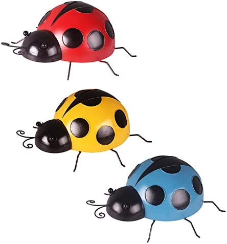 wholesale OPTIMISTIC Metal Ladybugs Garden sale Wall Art Decor Cute Ladybugs for Backyard Garden Lawn Porch Outdoor Decorations with Red and Black Spots Yard Wall Hanging Ornament online Set of 3 Outdoor Wall Decor online