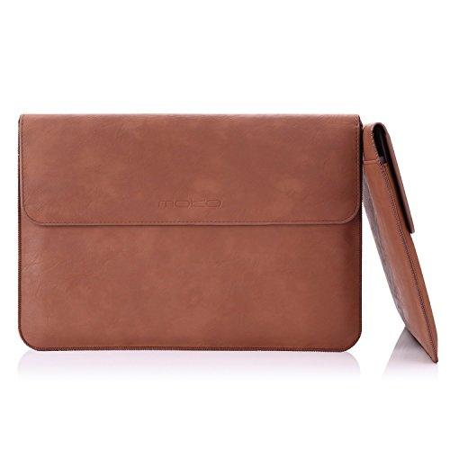 MoKo Sleeve Custodia Protettiva in Eco Pelle per MacBook PRO 15  2015 Version, con Tasca Integrata per Schede e Feltro Morbido Interno, Marrone
