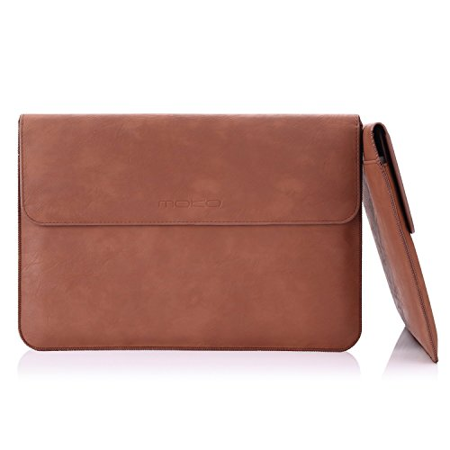 MoKo iPad Pro 12.9 Funda - Sleeve Bag Maletín de Cuero Imitado Cover Case para Apple iPad Pro 12.9' (2018/2017) ect. con Card Slot, Bolsillo y Fieltro, Marrón