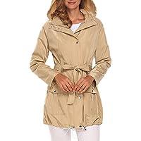 Ekouaer Women's Casual Detachable Hooded Long Sleeve Lightweight Waterproof Jacket with Belt
