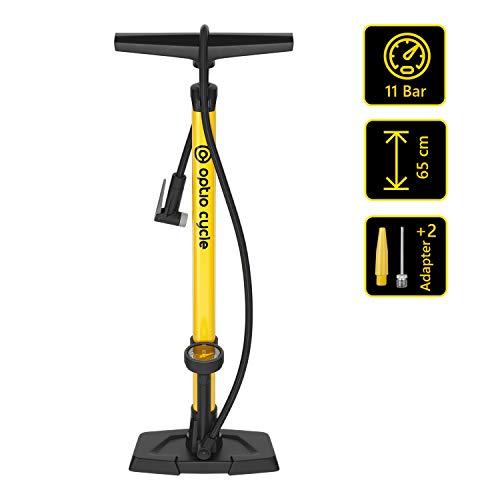 Optio Cycle Standpumpe Fahrradpumpe mit Manometer Display und Adaptern Standluftpumpe Luftpumpe für Allen Ventile