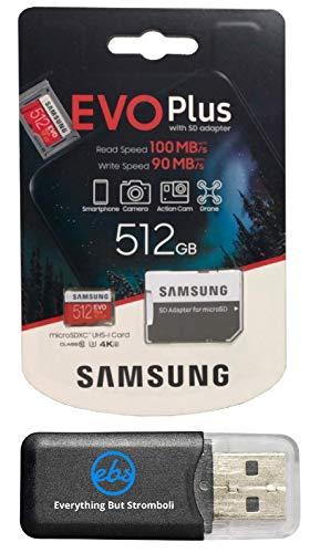 Samsung 512 GB Micro SDXC EVO Plus (MB-MC512GA) Bundle Class 10 UHS-1 funktioniert mit Samsung Galaxy Note 9, S9, S9+, S8 Handys Plus Everything But Stromboli (TM) TF-Kartenleser