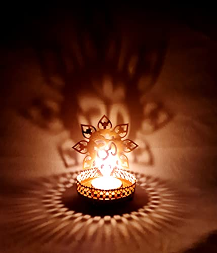 Om Shape Diwali Shadow Diya Deepawali Traditional Decorative Diya in Om Shape for Home/Office.Religious Tea Light Candle Holder Stand. Diwali Decoration Diwali Gift