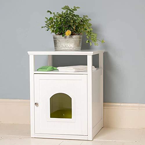 Lords & Labradors - Katzenhaus aus Holz - geeignet für Katzentoilette - Weiß