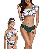 Family Matching Mom Girls Bathing Suit Mommy and Me Swimsuit Swimwear Bikini Set (Girl 4-5T, Green)