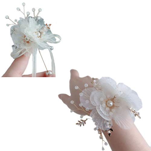 MYW Polsband Wedding Celebration Beach Party Prom Pols bloem corsage Armband Hand Flower Decoration (Color : White, Size : Corsage+Wrist flower)