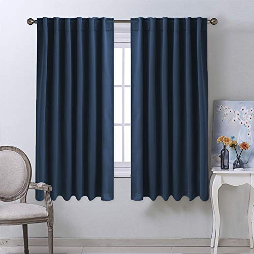 NICETOWN Blackout Curtains Window Drapes - (Navy Color) 52 inches W by 63 inches L, Set of 2, Blackout Curtain Panels for Boy's Nursery