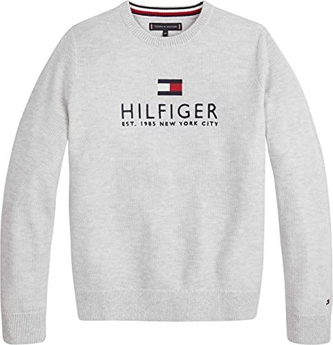 Tommy Hilfiger Jungen Multi Color Melange Sweater Pullover, Light Grey Heather, 12
