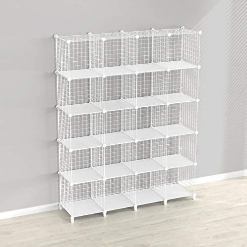 SIMPDIY Estantería de cubo de 20 compartimentos, estantería modular para libros y almacenamiento en forma de cubo, multiusos, sistema de rejilla de alambre para bricolaje, color blanco