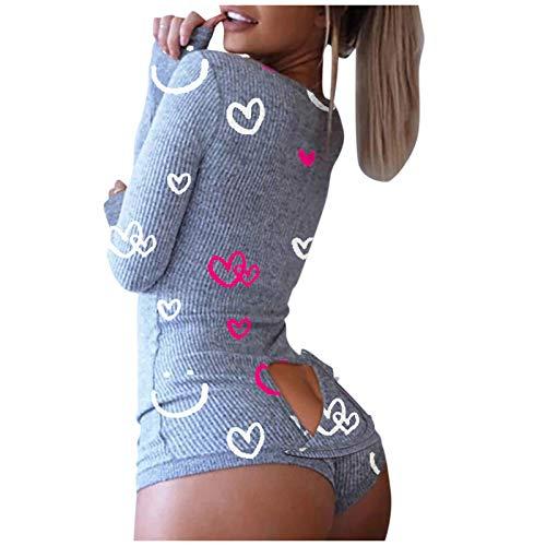 FABIURT Womens Pajamas Onesie Christmas Women's One Piece Onsie Print Sleepwear Ugly Christmas Pajamas Jumpsuit Rompers Clubwear Nightwear