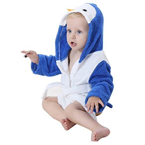 Baby badhanddoeken met capuchon jongens meisjes nachtkleding kleine kinderen badjas met dierontwerp 0-24 maanden Blauwe pinguïn.