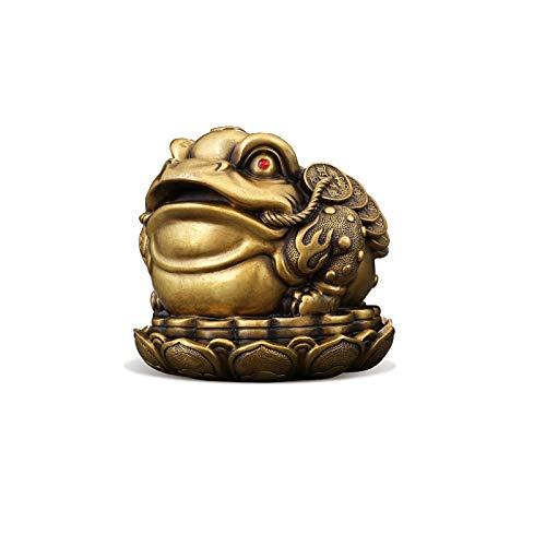 NYKK Decoración de Mesa Latón Golden Sapo Adornos Feng Shui Lucky Money Frog Sala de Estar Oficina Decoración de Escritorio Decoración Riqueza Toad Crafts Apertura Regalos Escritorio de Adornos