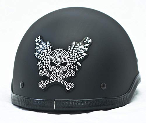 1111 Rydewear Skull and Cross Bones Rhinestone Helmets Bling Sticker Peel Stick Helmet Patches Half Shell Helmet Sticker Patch