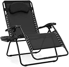 Best Choice Products Oversized Zero Gravity Chair, Folding Outdoor Patio Lounge Recliner w/Cup Holder Accessory Tray and Removable Pillow - Black