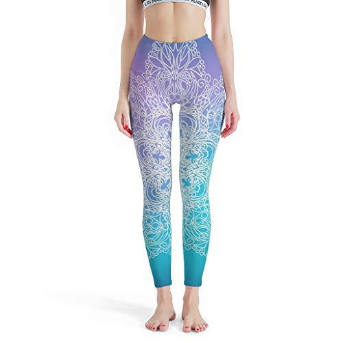 Lind88 -Strepen Mode Womens Leggings, Mandala Gedrukt Hoge Taille Panty Dromerige Mandala Patronen Gedrukt Hoge Taille Print Leggings Capris voor Vrouwen Casual Zomer Denim