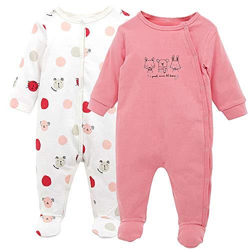 ShenzhenWindyTradingCo.,Ltd Baby Strampler Set 2 Stück Pyjama Jungen Mädchen Overalls Langarm Spielanzug Baumwolle Outfits 3-6 Monate