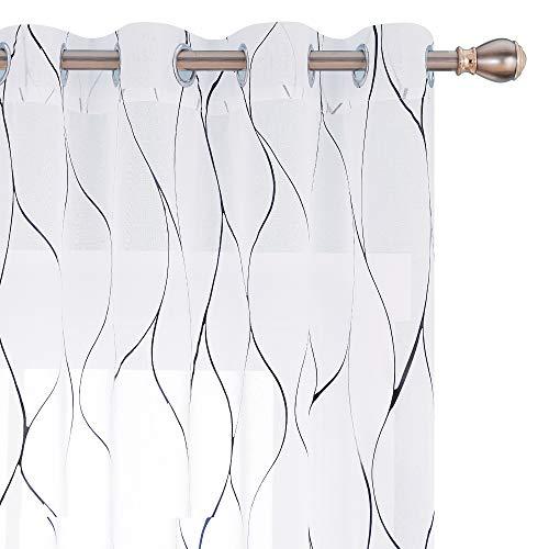 Deconovo Schwarze Folien-bedruckte Wellenmuster, halbdurchsichtige Vorhänge mit Ösen, Voile, Leinenoptik, für Wohnzimmer, 132 x 160 cm (B x L), Weiß, 2 Stück