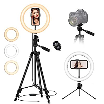 10'' LED Ring Light with Stand and Phone Holder, Desk Tripod Remote Shutter Circle Light for iPhone Camera Video Recording, TikTok YouTube Streaming Selfie Photo from TBJSM