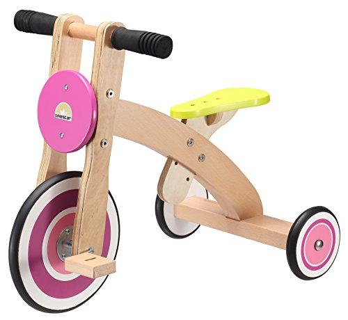 BIKESTAR Triciclo per Bambini per Piccoli esploratori a Partire da 3 Anni  Edizione in Legno Naturale  Fragola Magica