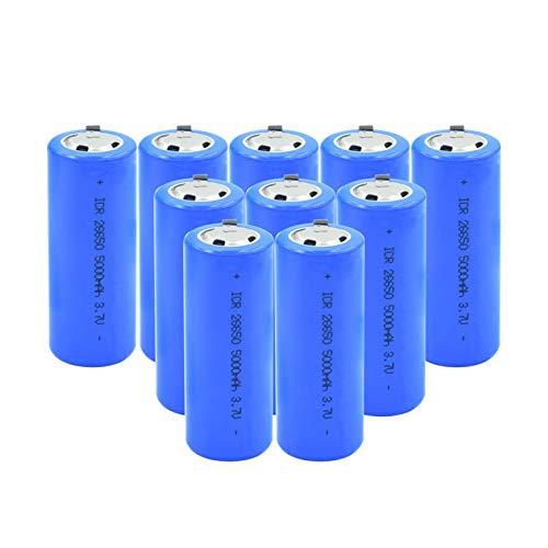 RitzyRose ICR 26650 - Pilas recargables de 3,7 V, 5000 mAh, batería de litio, célula con 2 pestañas para linterna LED, 10 unidades