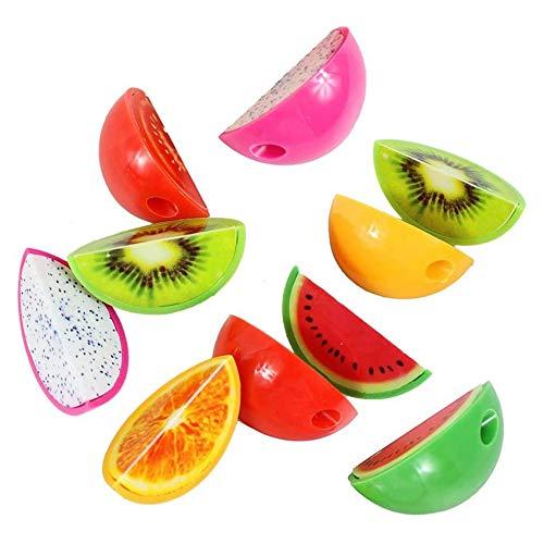 XLKJ 15 Pcs Sacapuntas de Plástico, Sacapuntas de Lápiz de Dibujos Frutas, Sacapuntas Manual Pencil Sharpener para Niños, Mini Sacapuntas, Estilo Aleatorio