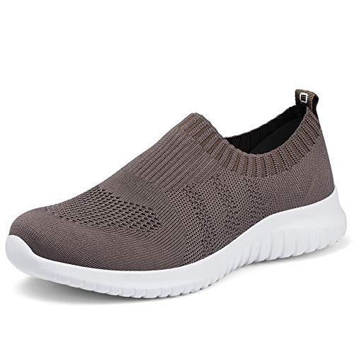 TIOSEBON Women's Walking Shoes Lightweight Mesh Slip-on- Breathable Running Sneakers 11 US Brown