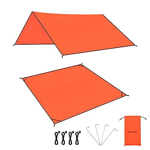 テントシート 防水 グランドシート 軽量 日除け キャンプ ハイキング ピクニック 収納袋付き (265, 152*150cm)
