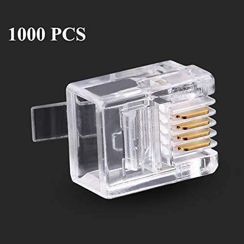 Sevenplusone LAN Netwerk Kabel RJ11 Modulaire Plug Telefoon Connector (1000 stks in één verpakking, de prijs is voor 1000st), Voor Solid kabel, Maak de telefoonkabel met behulp van deze stekker