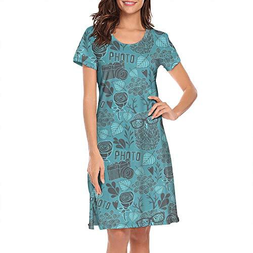 Nightgown Womens Sleepwear Blue Owl Glasses with Camera Best Sleeping Clothes Nightwear