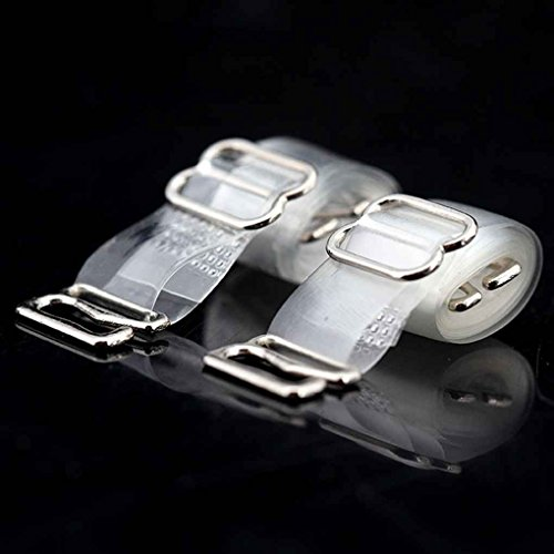 ELENXS 2 Paires réglables Soutien-Gorge Transparent Bretelles Transparentes Invisible Bretelles de Remplacement Crochet métallique Amovible