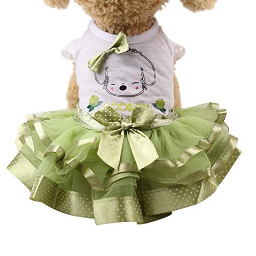Fossrn Vestido para Perro, Falda tutú para Perro, Linda Falda de Princesa, Vestido tutú de Encaje para Torta para Perros pequeños y medianos para Ropa de Verano -XS-XL
