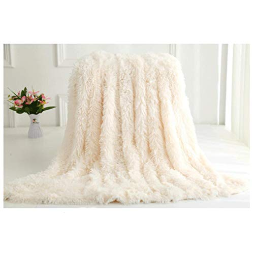 VasKinRey Kuscheldecke 200 x 230 cm Elfenbeinweiß Tagesdecke Lange Haare Flauschig Weiss Decke Klimaanlage Decke für Couch Bett
